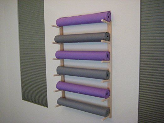 Amazon Com Foam Roller And Yoga Mat Storage Rack Wall Mount In Sustainable Hardwood 36 6 Space 1 Set Yoga Mat Storage Pilates Studio Yoga Studio Design