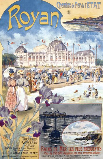 Vintage Railway Travel Poster - Royan - France.