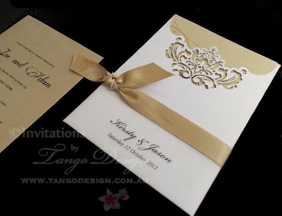 elegant laser cut pocket invitations by