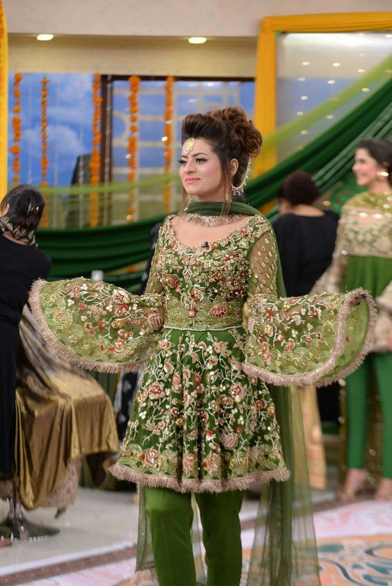 Green embroidered frock with bell sleeves