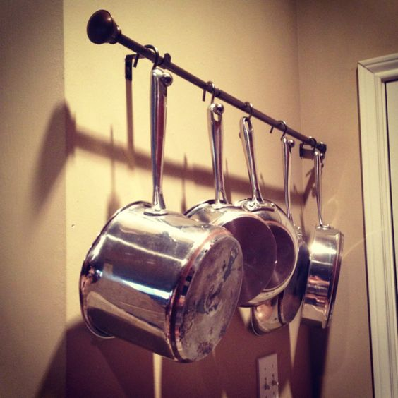 Diy Pot And Pan Rack For Wall Hang A Curtain Rod With
