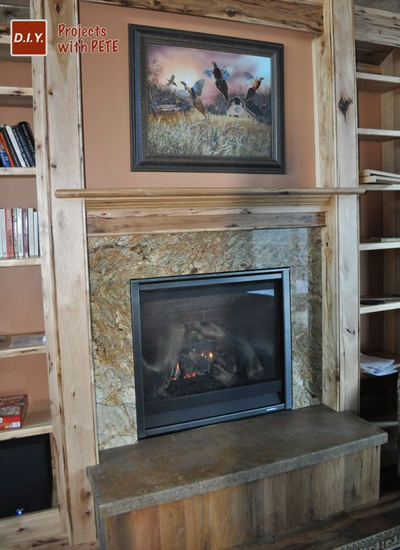 My concrete hearth with an acid stained finish diy for Concrete mantels and hearths