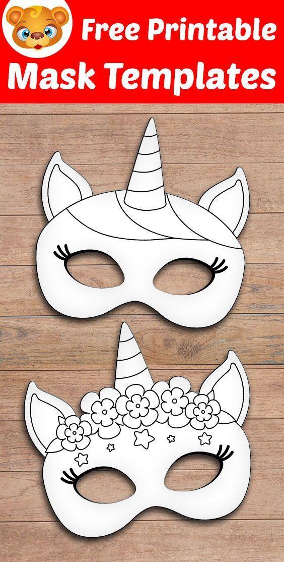 Printable Unicorn Mask Printable Unicorn Mask Template Printable Unicorn Mask Kids Crafts Masks