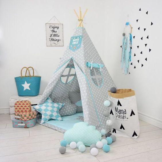 childrens teepee playtent tipi zelt wigwam kids by mamapotrafi kids bedroom pinterest. Black Bedroom Furniture Sets. Home Design Ideas