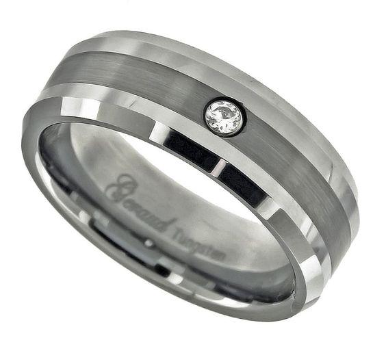 Geraud Men's Tungsten Brushed Finish Inlay w/ CZ 8mm Wedding Band Sz 7 to 14 #AccessoriesJewelry