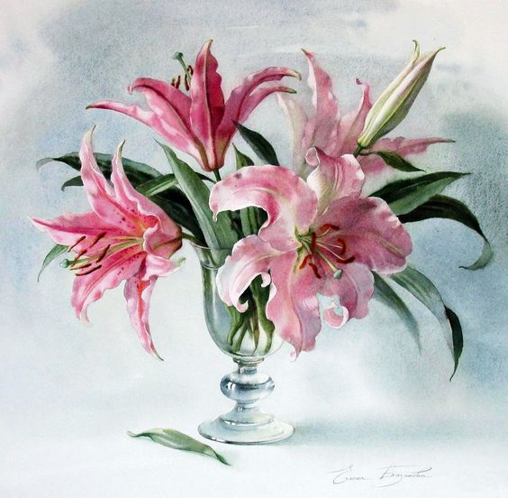 E.Bazanova (b.1968) — Lilies(1000×979):