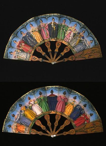 Fan of  Elegant Woman from front and back. 1830's. The Victoria and Albert Museum.: