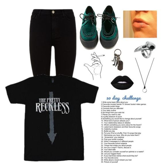 """""""30 Day Challenge-Day#13 ((Late, Read D))"""" by lukeimbatman ❤ liked on Polyvore featuring 7 For All Mankind, T.U.K., AllSaints, Lime Crime and FOSSIL"""