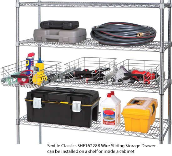 Seville Classics She16228b Wire Sliding Storage Drawer Can Be Installed On A Shelf Or Inside A Cabinet Organizes S Kitchen Storage Storage Storage Drawers