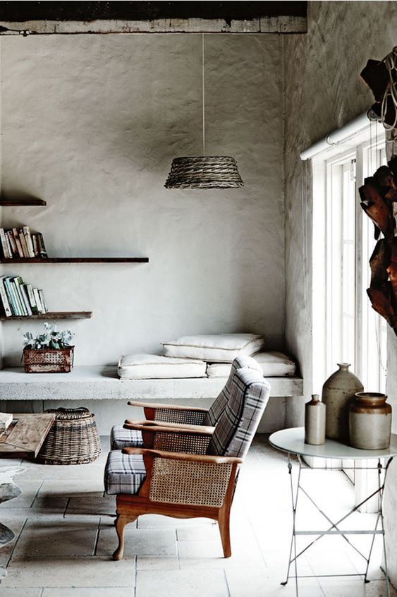 modern rustic living room | via Interiors | Industrial, Country - DustJacket Attic)