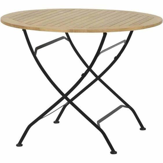 Bistrotisch Balkontisch Klapp-Tisch Gartentisch rund Outdoor Holz Eisen rund