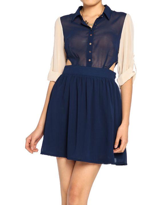 navy chiffon shirt dress with cut outs- fall appropriate: