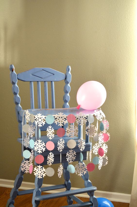 """Winter Wonderland Highchair Birthday Banner - """"Onederland"""" shimmery snowflakes and circles for the highchair by thePathLessTraveled on Etsy https://www.etsy.com/listing/212788145/winter-wonderland-highchair-birthday"""