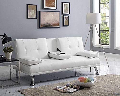 Amazon Com Naomi Home Futon Sofa Bed With Armrest White Kitchen Dining White Sofa Bed Futon Sofa Futon Sofa Bed