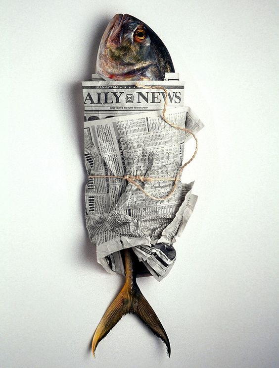 Tout emballé, Edward Addeo Food Photography, fish and newspaper