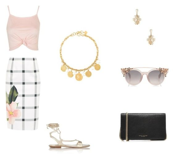 """Pink Look"" by foster-whitney-a on Polyvore featuring Ted Baker, Topshop, Marc Jacobs, Miu Miu, Moschino and Mikimoto"