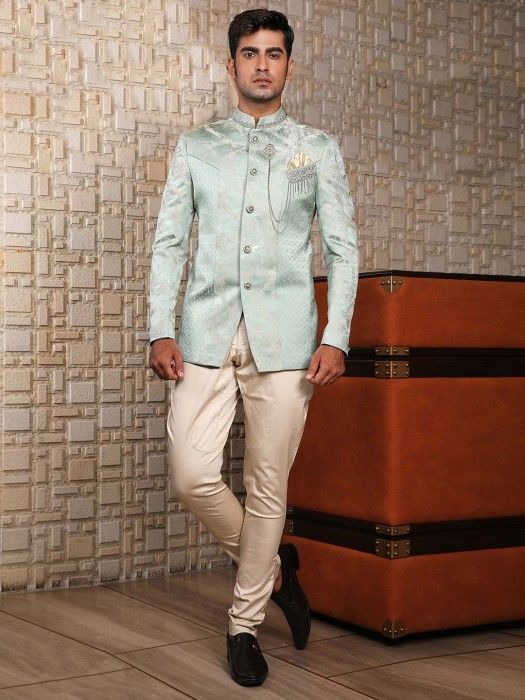 Mint Green Solid Designer Jodhpuri Suit Mens Coat Suits Mens Suit Men S Coat Mens Coat Pant Mens Party Wear In