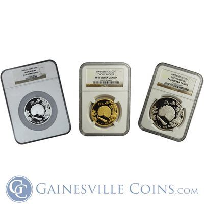 1993 China Deluxe Peacock 3-Coin Proof Gold  Silver Set NGC PF69 http://www.gainesvillecoins.com/