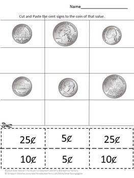 Printables Coin Value Worksheets coins cut and paste student on pinterest with this quarters dimes nickels packet students can learn to identify these three their value while practicing skills