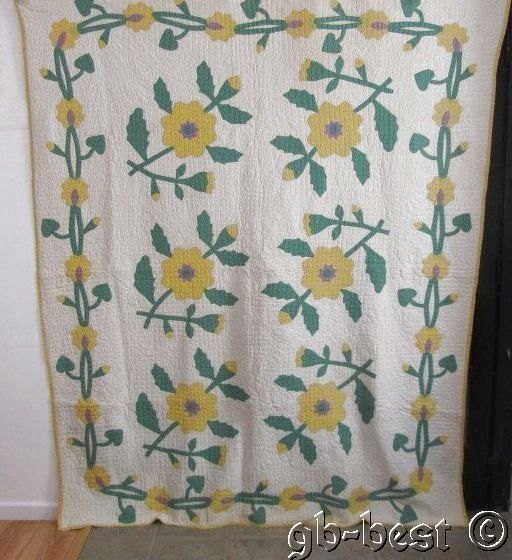 Superb Quilting 1930s Yellow Flowers Applique Vintage Quilt Wreaths Vines 86x74 | eBay