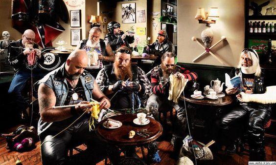 A group of bikers #knitting.  Pretty cool stuff!
