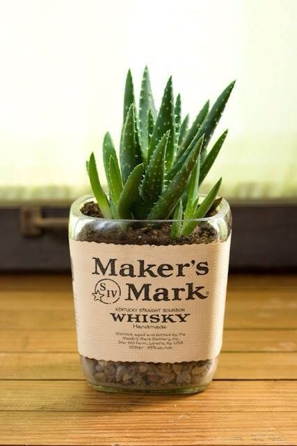 Make planters out of old bottles