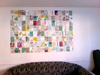 Really cool idea - Order a bunch of Anthropologie Wallpaper samples which are free. Tape them to their wall to create this great collage type art.