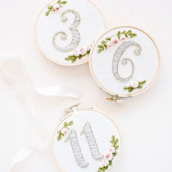 Dove Gray Floral Embroidered Table number Hoops #1-15