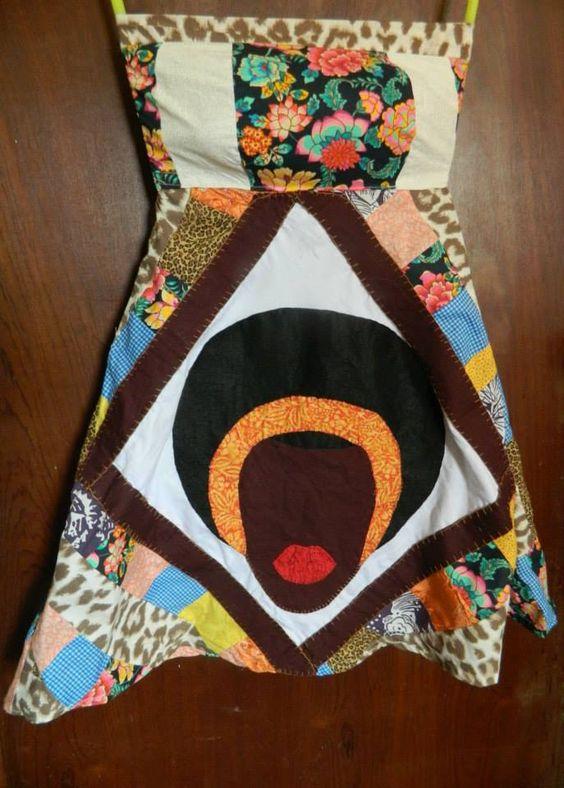 Vestido em patchwork  e patchaplique