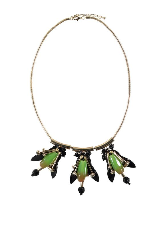 Maki necklace > This silver metal necklace with three bright green firefly pendants will lighten up your outfit instantly. Show yours off by wearing a plunging neckline.