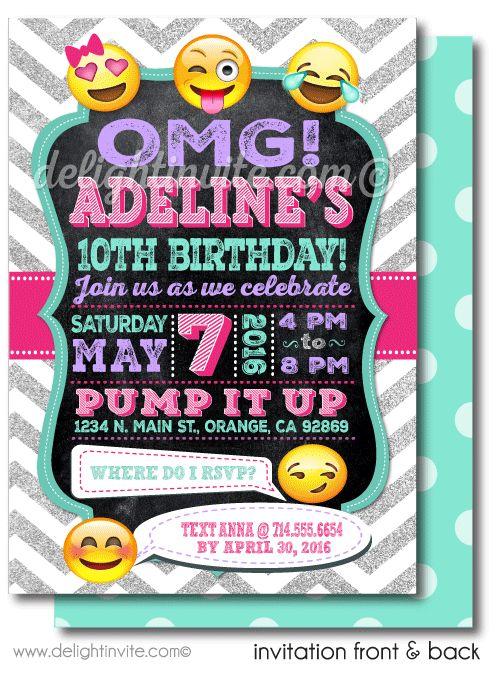 printable digital emoji birthday party invitations for girls [di, Party invitations