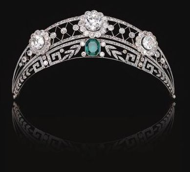 A German noble family in Westphalia owned this stunning emerald and diamond tiara, c. 1910. It was worn at an official dinner given by Kaiser Wilhelm II by an ancestor of the present owner (who recently sold it).