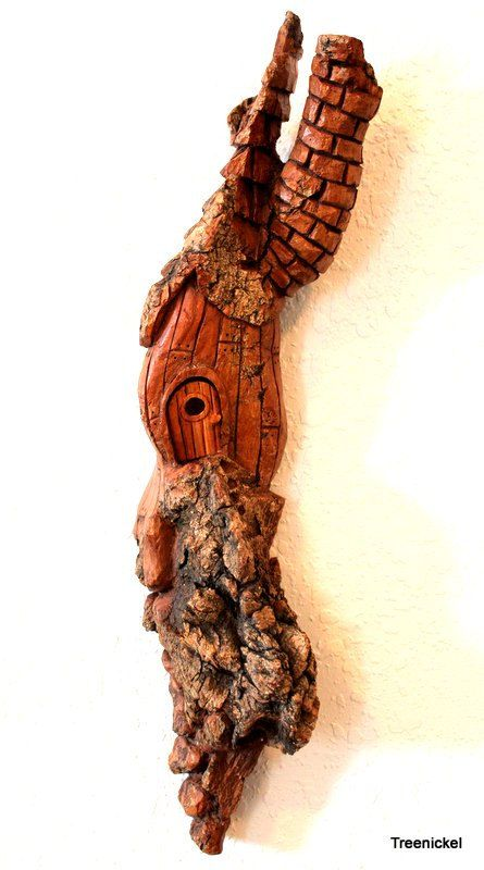 Hand carved cottonwood bark hobbit fairy or by