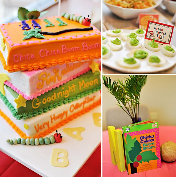 This would be a cute baby shower! Book Party Food:  stacked books cake, appetizers from from classics like green devilled eggs and mini ham sandwiches (Green Eggs and Ham), meatballs (Cloudy with a Chance of Meatballs), moonpies (Goodnight Moon),  pink lemonade (Pinkalicious), cookies and milk (If You Give a Mouse a Cookie), swedish fish/gold fish (One Fish, Two Fish...)