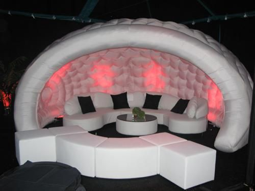 #Luna inflatable pod with mood lighting and matching seating used for VIP/backstage chill out area.  #EvolutionDome #MoodLighting #SeatingArea #VipArea #BackstageArea #ChillOutZone #PopUpPod #PopUpArea #inflatableStructure #TemporaryStructure #AlternativeMarquee #BubbleTent #Pod #EventSpace #VIP #VIPseating #Indoor #outdoor #BlowUp #MobileArea #MobileStructure