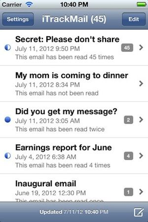 Obtenir des accusés de réception de ses emails avec l'application iTrackMail