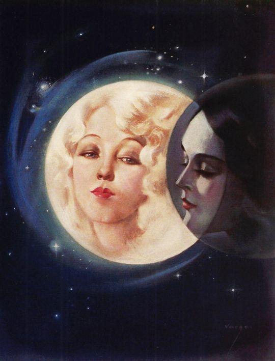 """Moonlight eclipse """"Moonlight Eclipse"""" by Alberto Vargas, 1932"""