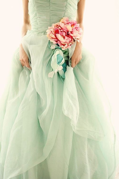 Solely Weddings: mint and pink dress: Pink Flower, Mint Wedding, Wedding Gown, Wedding Dress, Mint Bridesmaid, Mint Gown, Mint Dress