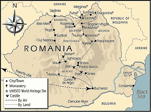 Map of Romania showing castle locations Must visit someday – Romania Tourist Attractions Map