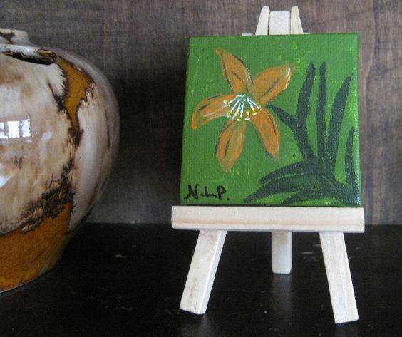 Retro Lily Mini Painting Free Easel #HAF #HAFshop #Handmade #artist