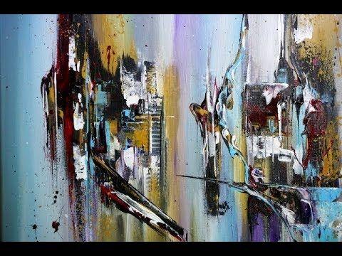 Abstraktes Malen Mit Acryl Und Spachtel Youtube