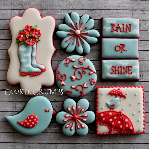 Adorable cookies with small bird, plaque and flower cookie shapes!
