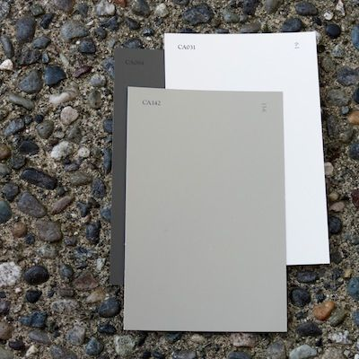 2012 Exterior Paint Combinations for Your Home Walls in Cloverdale Paint CA142 - Bay Leaf, CA031 - Wool for trim and CA084 - Foothills for accents.