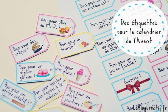 Des étiquettes à télécharger pour remplir le calendrier de l'Avent !: