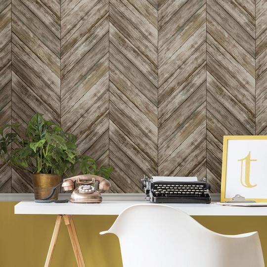 Herringbone Wood Boards Peel And Stick Wallpaper In 2020 Herringbone Wood Peel And Stick Wallpaper Stick On Wood Wall