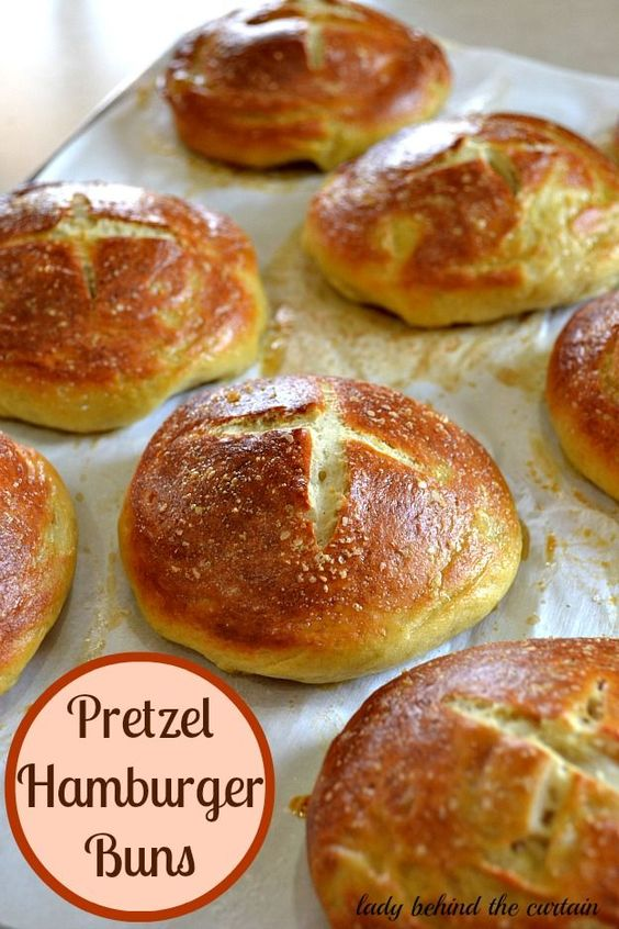 Pretzel Hamburger Buns: Replace your regular burger buns with these chewy, soft, warm pretzel rolls,