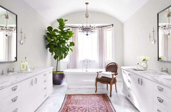 Rugs 101: Your Ultimate Guide to Rug Shopping // pink Persian rug, marble countertops, marble floors, white bathtub, chandelier: Powder Room, Beautiful Bathroom, Fig Tree, Burnham Design, White Bathroom, Dream Bathroom, Master Bathroom