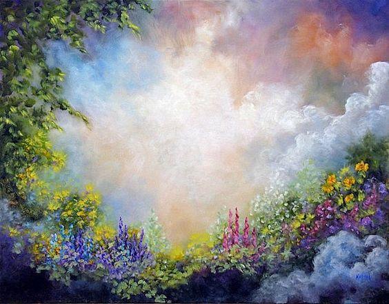 """Heavens Garden"" Landscape Flower Garden  ART by MarinaPetroFineArt, $35.00  http://www.etsy.com/shop/ArtByMarinaPetro"