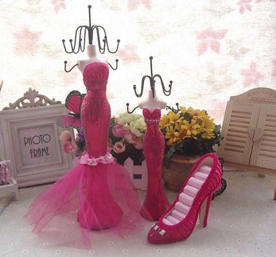 Soporte de la joyería zapatos de tacón alto asiento titular pendiente pendientes marco tres pedazos fijó en Funas y Expositores de Joyería en AliExpress.com | Alibaba Group