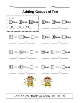 Adding Groups of Ten | Math, Worksheets and Math worksheets